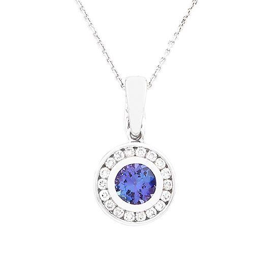 18 carat white gold diamond and tanzanite pendant and chain 18 carat white gold diamond and tanzanite pendant and chain aloadofball Gallery