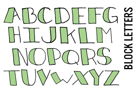 Doodle Block Letters  Mint  Block Lettering And Bullet