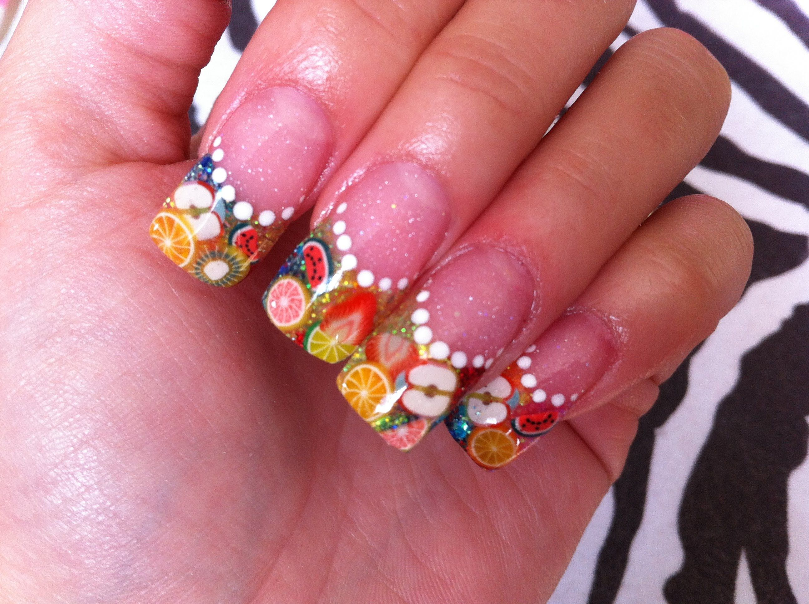 Fimo Fruit Acrylic Nails - Inspired by JennisseMakeup | Del you tube ...