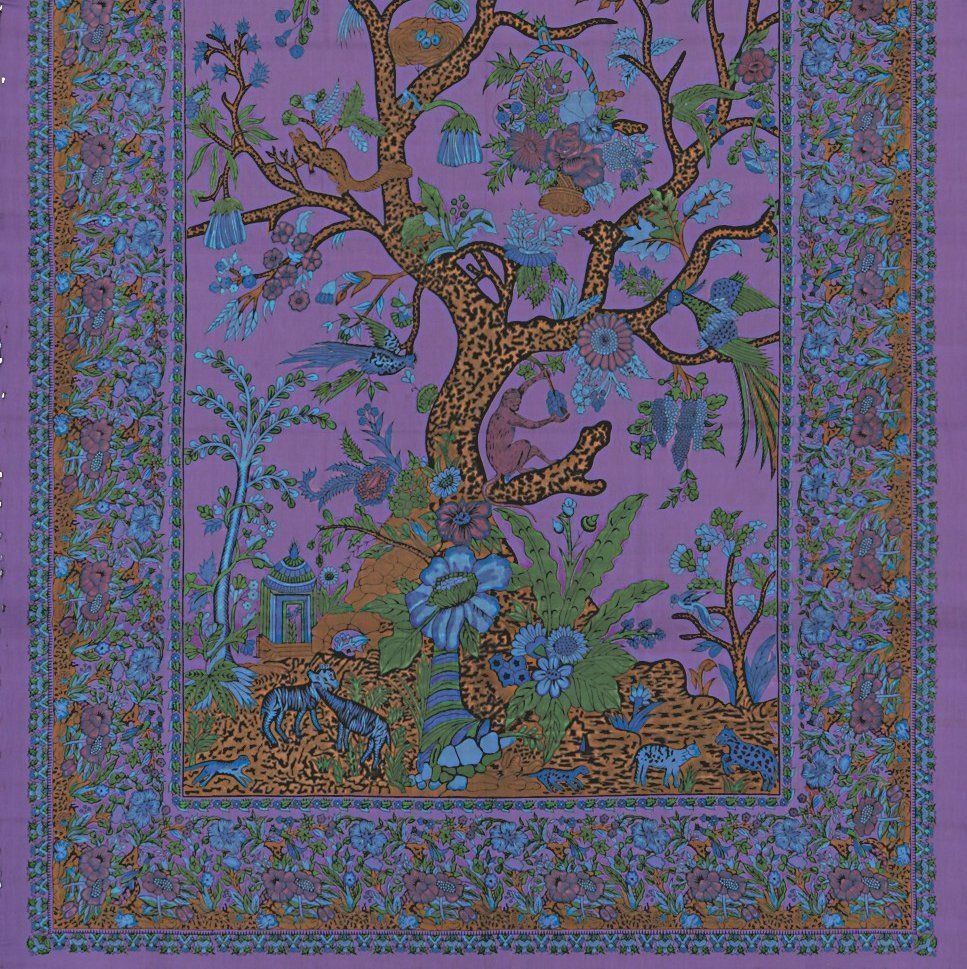 Handmade Cotton Tree of Life Tapestry Tablecloth Bedpread Twin 70x104 Purple