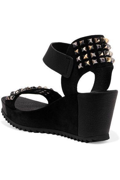 Fortuna Stud-embellished Leather And Suede Wedge Sandals - Black Pedro Garcia 8foCuVeeV