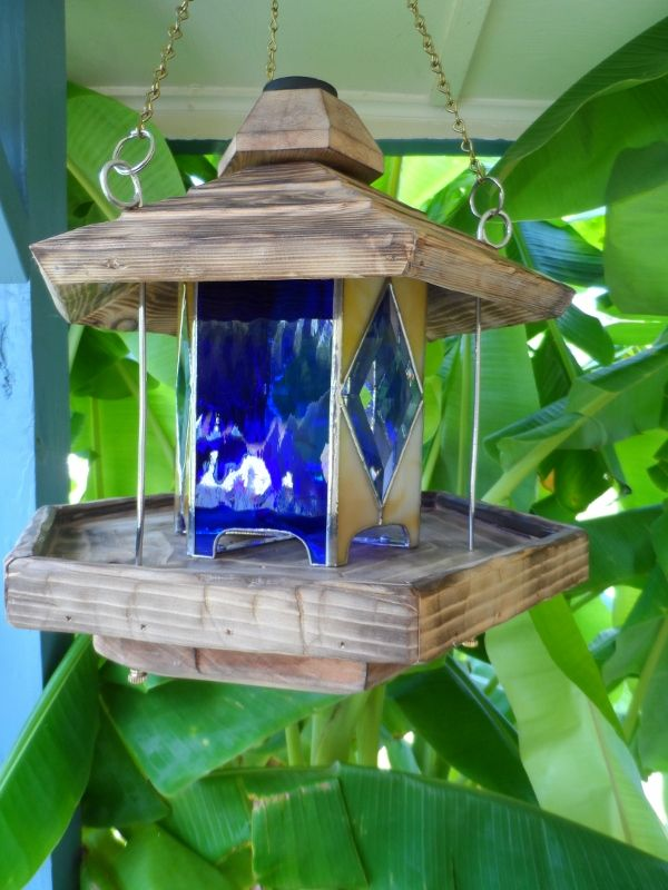 Stained Glass And Cedar Bird Feeder The Cedar Is Scorched