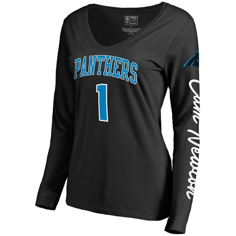 1632b9aae Women s NFL Pro Line by Fanatics Branded Cam Newton Black Carolina Panthers  Heartthrob Name   Number V-Neck T-Shirt