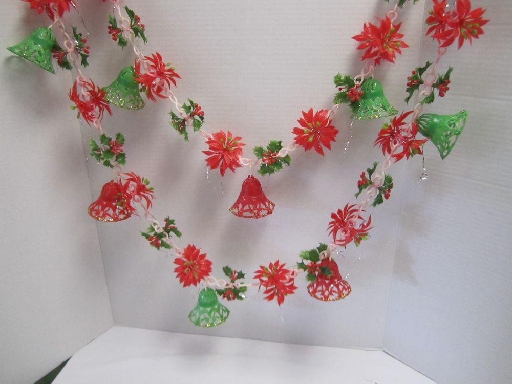 Vintage christmas garland plastic filigree bells