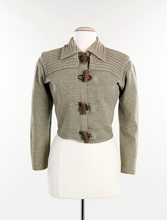 rustic sweater by Elsa Schiaparelli, circa 1935.  love the rolled leather log buttons!  via Metropolital Museum of Art collections