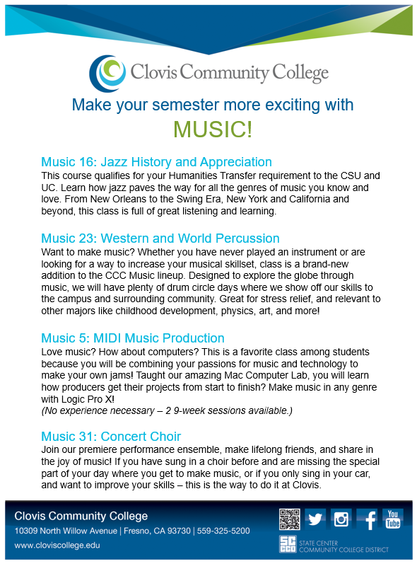 There's still time to enroll in music classes! View other open classes at http://onlineforms.scccd.edu/ocl/CCC_FALL.pdf