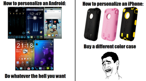 This about sums it up! Android vs iphone, Iphone meme