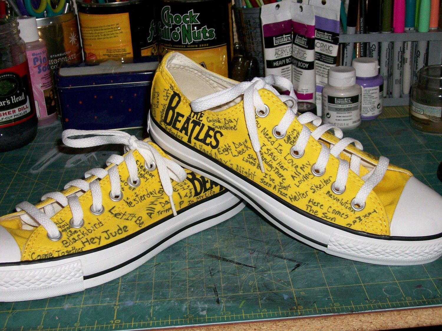 3741b609161332 Beatles Converse. Hand painted Beatles and hand written Beatles songs cover  shoes. Sold to Canada