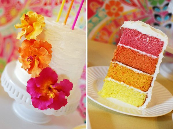 & Colorful Aloha Summer Birthday previous pinner said Warm layered Cake with a tropical twist! Flavor ideas: From bottom to top-  yellow layer: pineapple, banana or passionfruit flavored, the next layer: mango- the dark orange layer: papaya and the last red layer: guava. Mmmmmm yummy, maybe with a coconut evious pinner said Warm...