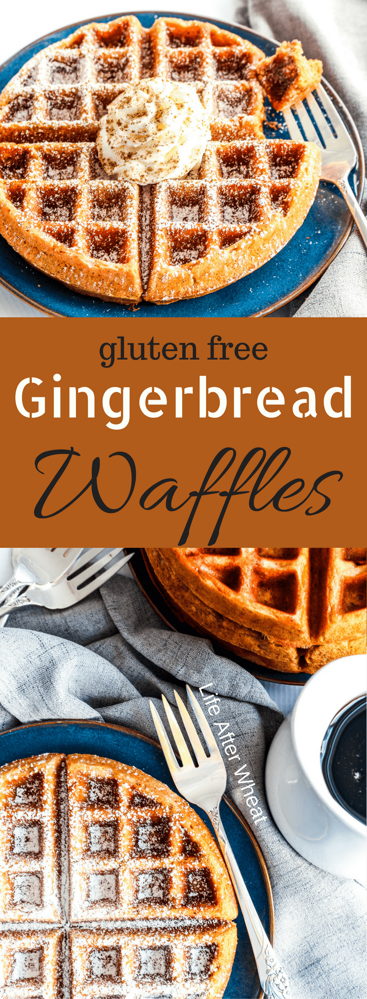 Gluten Free Gingerbread Waffles are packed with perfectly spiced gingerbread flavor and a feature a perfectly delicate texture. You would never know they're gluten free! #glutenfreebreakfasts