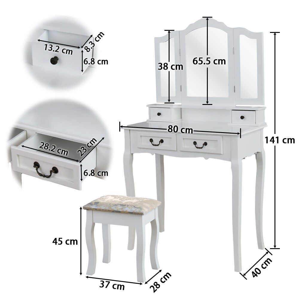 3 Mirrors 4 Drawers Dressing Table Tocador Penteadeira Dresser Home Bedroom Furniture White Makeup Table Wit Planos De Muebles Decoracion De Interiores Muebles