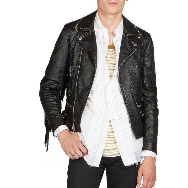 809f9744c7b Saint Laurent Fringe Leather Moto Jacket ($6,265) ❤ liked on Polyvore  featuring men's fashion, men's clothing, men's outerwear, men's jackets, ...