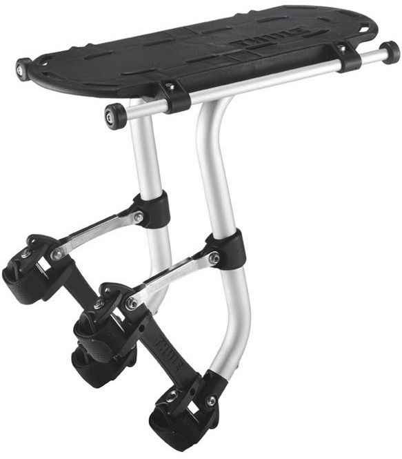 The Thule Pack 'N Pedal™ Tour Rack is a patented rack attachment system that works on virtually any bicycle frame from full suspension to a decked out touring bicycle.  http://www.jensonusa.com/Commuter-Essentials