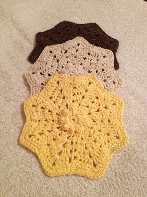 Set of 3 crochet dishcloths by SevenSkeins on Etsy, $10.00