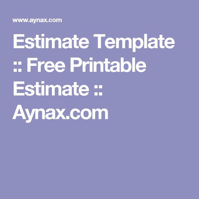 Estimate Template  Free Printable Estimate  AynaxCom