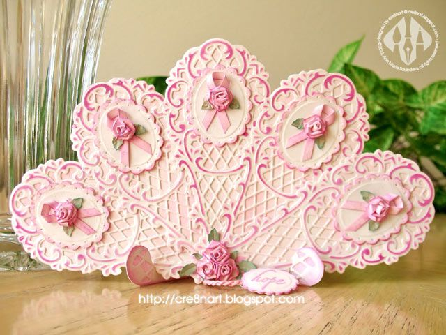 Pink Ribbon Fan - Easel and Fan using Marianne Creatables Design Dies