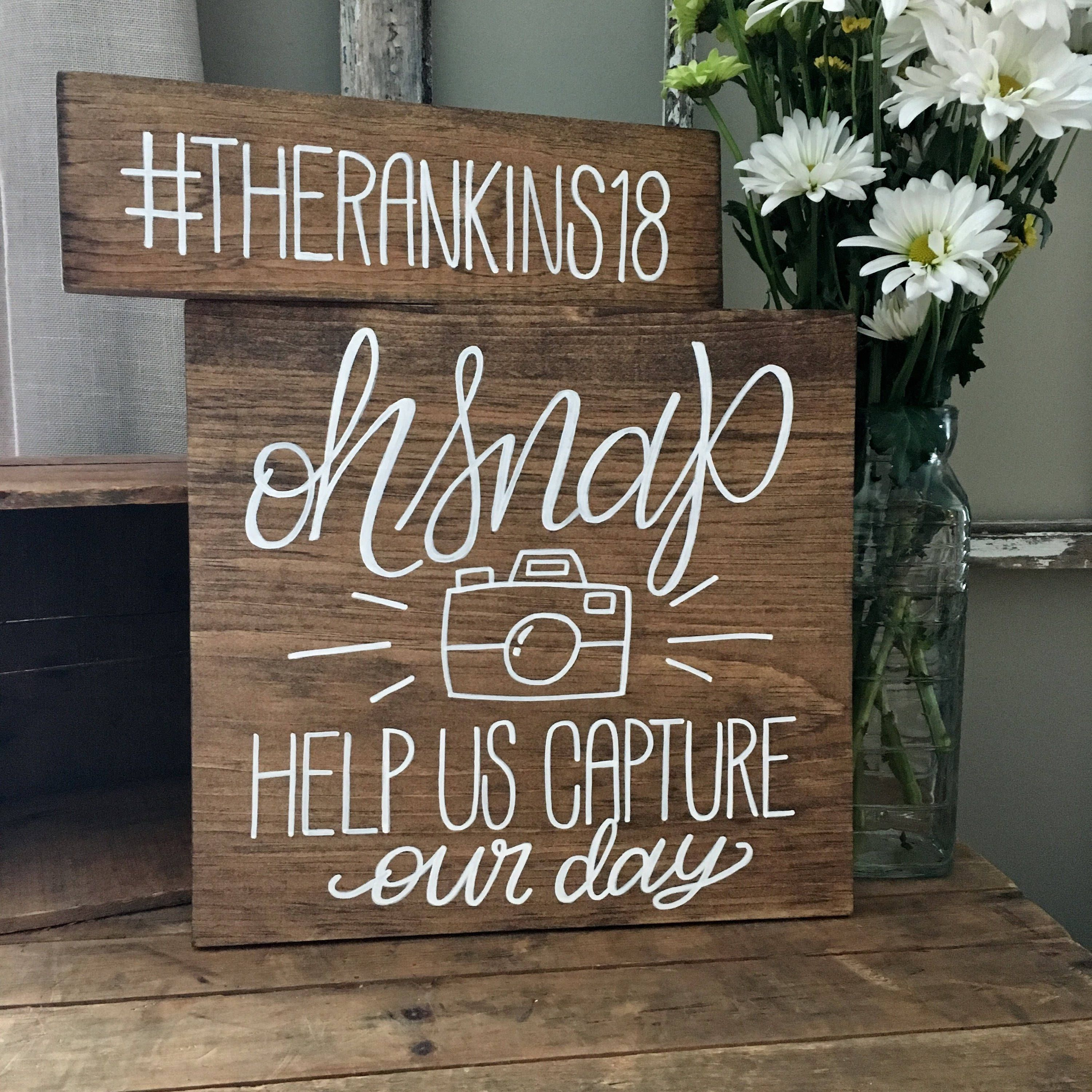 Great Idea For Displaying The Wedding Hashtag Oh Snap Wedding Sign Instagram Wedding Sign Wooden Wedding Signs Instagram Wedding Sign Rustic Wedding Signs