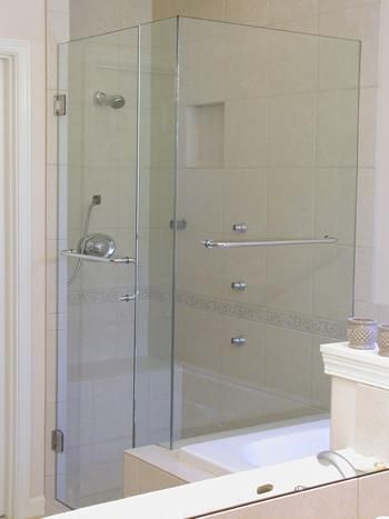 Heavy Glass Shower Enclosure True Frameless With Double Towel Bars