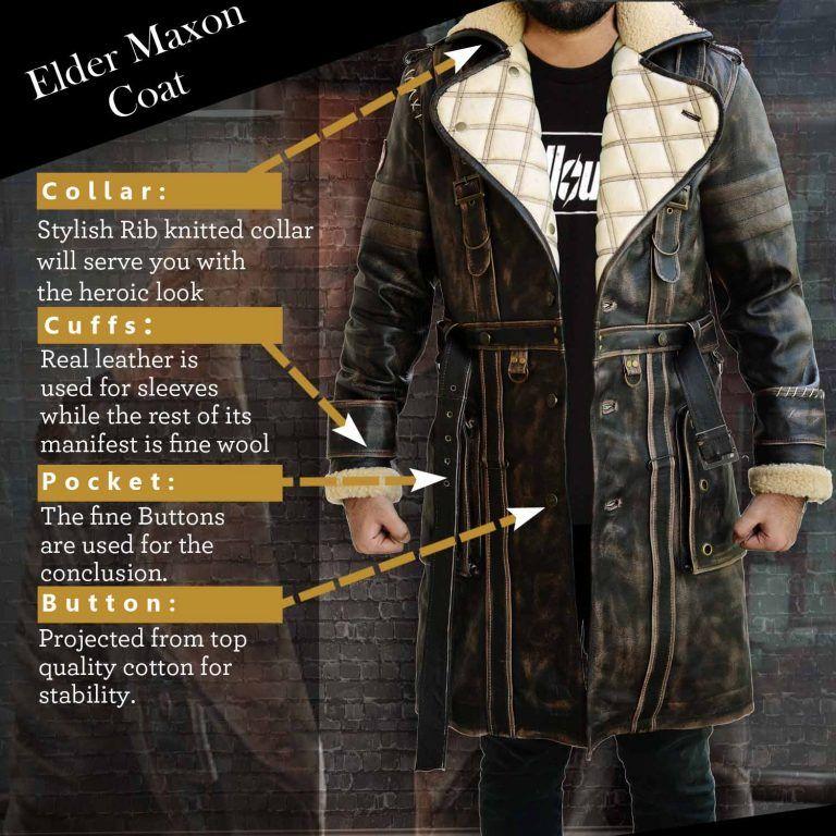 ec565d7f5 Elder Brown Fur Collar Maxson Long Leather Jacket   Fallout   Fur ...