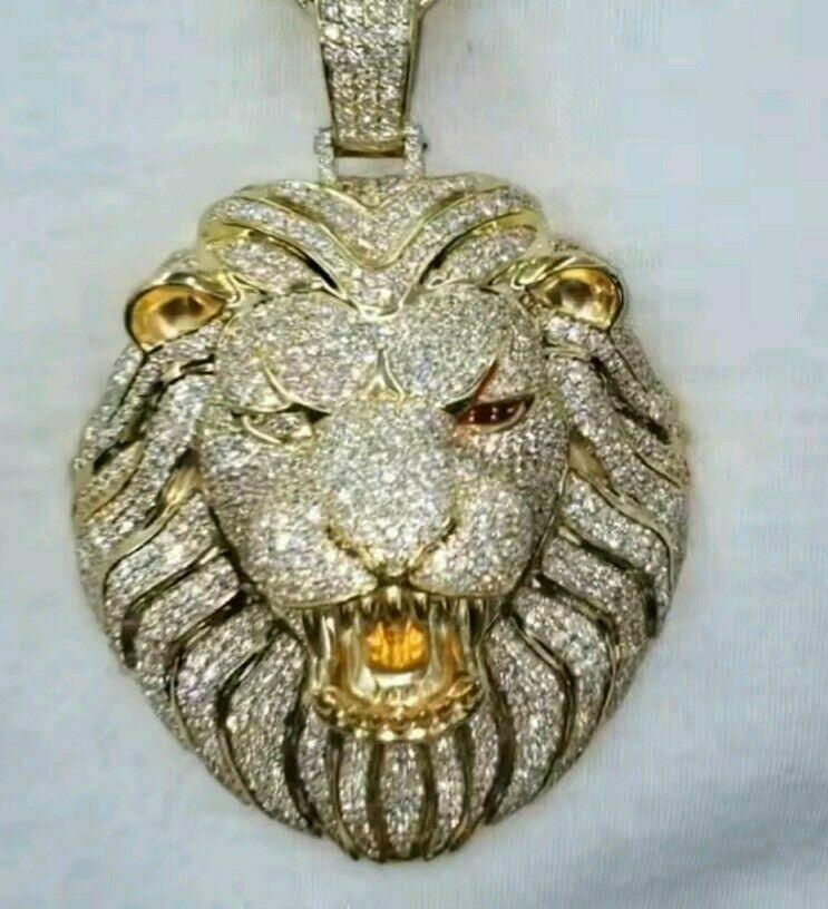 Silver Lion and Crown Large Gem Set Charm