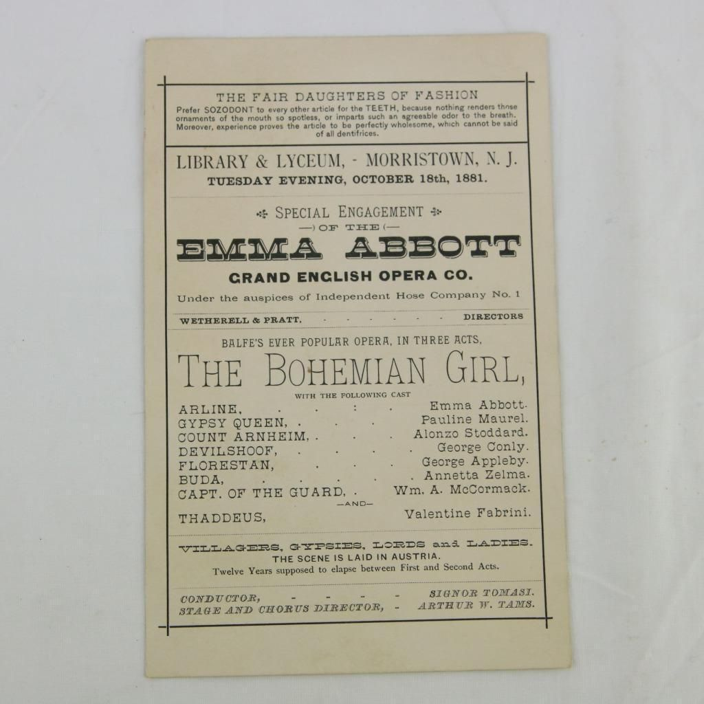 1881 Morristown Nj Lyceum Emma Abbott English Opera Performance