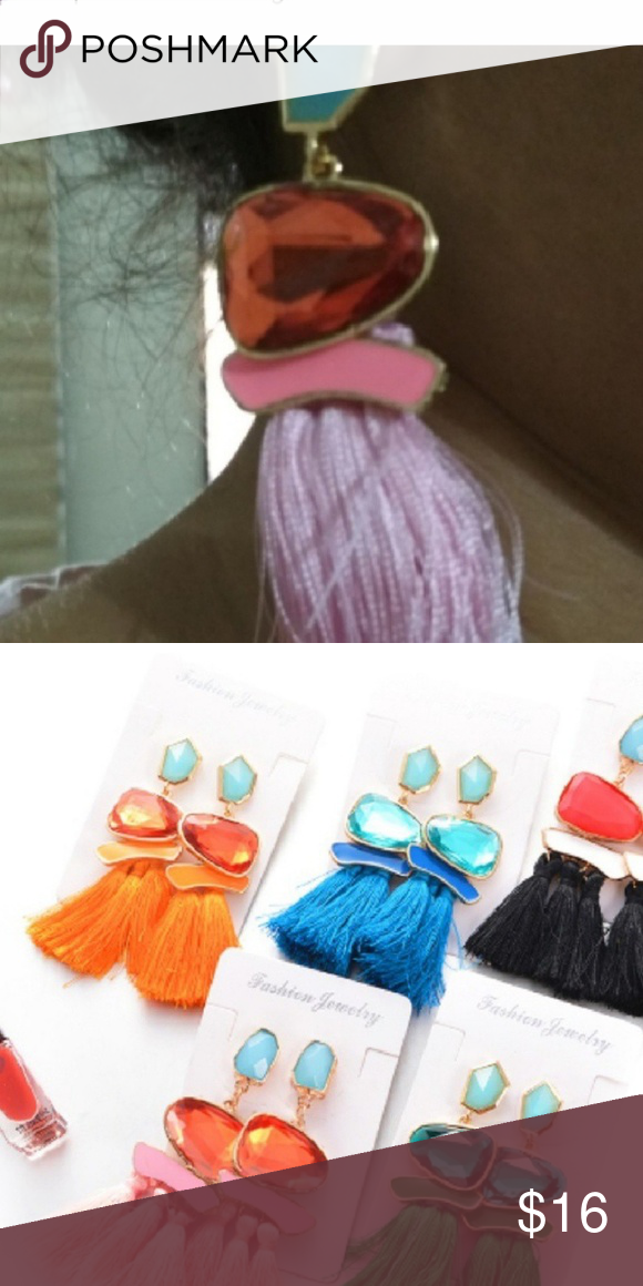 LAST ONE  tassel earrings pink and orange nwt New with tags tassel earrings for other colors please...