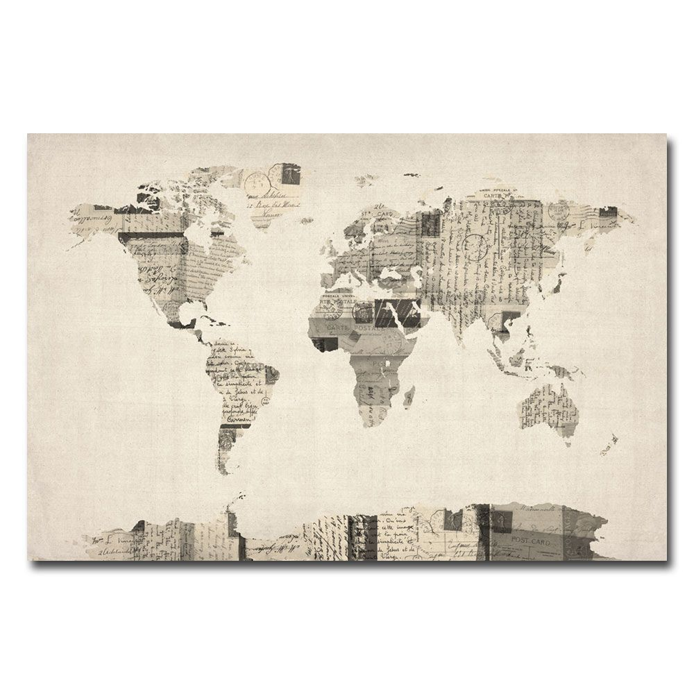 Trademark global michael tompsett vintage postcard world map explora lona envuelta tela para pared y mucho ms trademark fine art michael tompsett vintage postcard world map canvas art gumiabroncs Gallery