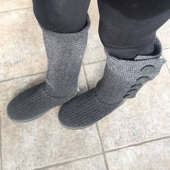 Char Coal gray classic cardigan / knit tall Uggs Only worn a handful of times. Inside fur intact and good condition. Very warm and comfy. Authentic. Comes with original box UGG Shoes Winter & Rain Boots