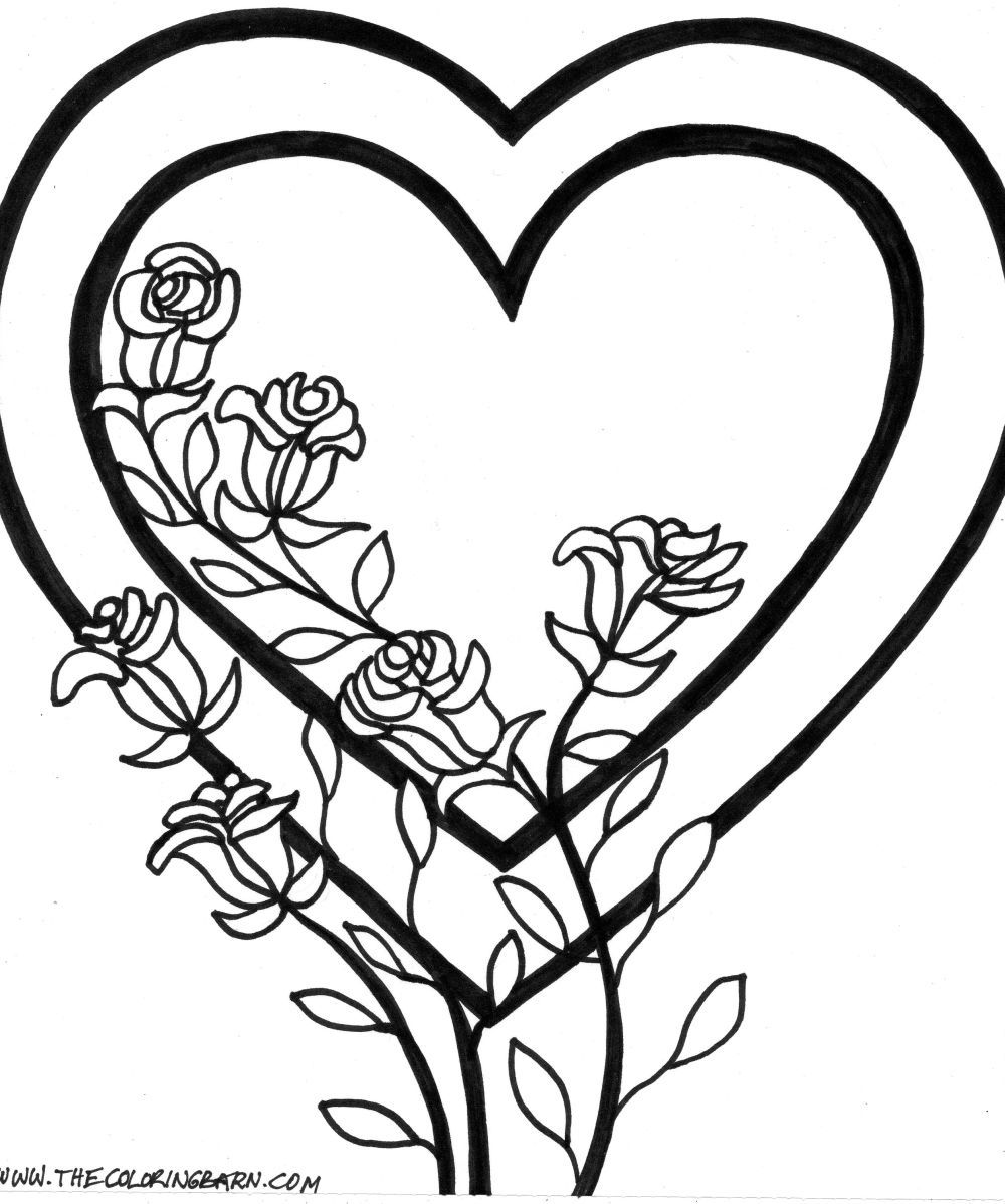 Valentine S Day Heart And Roses Coloring Page Heart Coloring Pages Valentine Coloring Pages Flower Coloring Pages