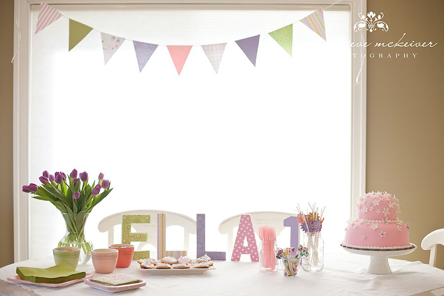 Girls First Birthday Decorations And Table Paper Flags Pink Cake Scrapbook Covered Letters