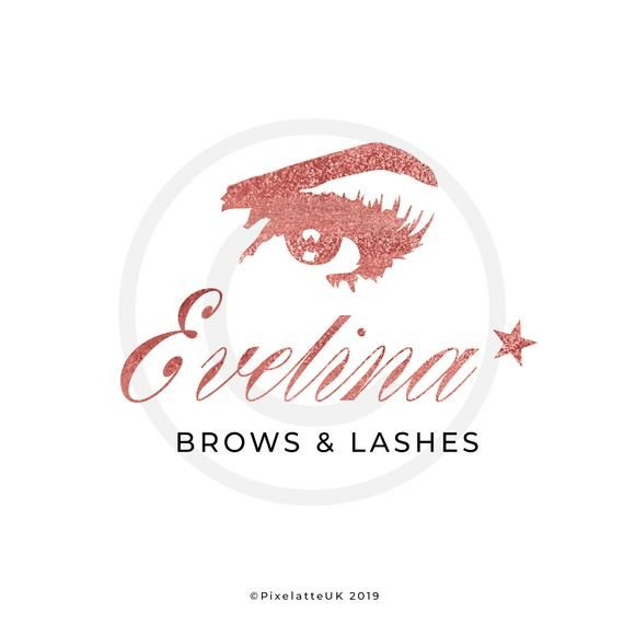 Photo of Premade Logo Beauty / Salon / Lash / Brow / Make Up Artist (Customise) Design with Eye Illustration Rose Gold Initials and Cursive Text