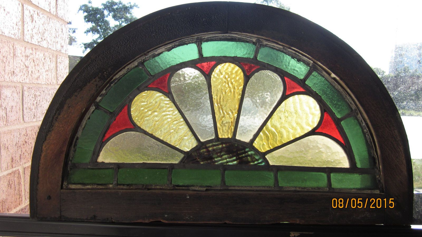 Small Victorian Stained Glass Half Round Transom Window Ebay