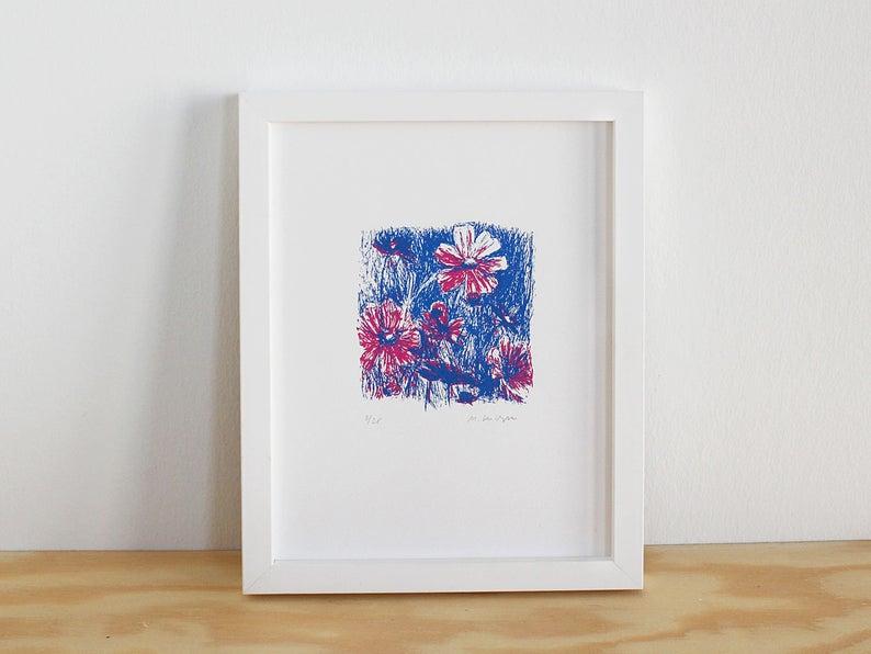 Siebdruck Poster rote Blumen, handgedruckt und limitiert, Kunst für zuhause