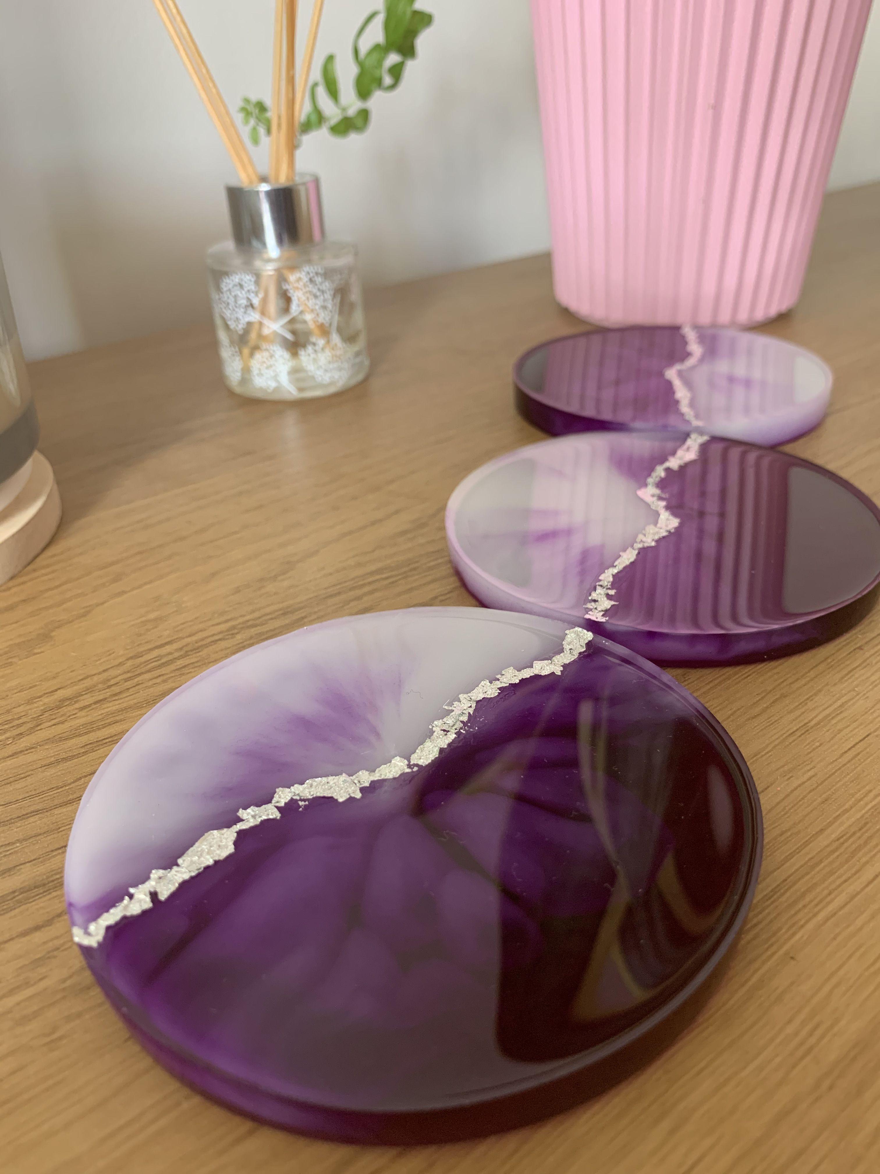 Resin Coasters Beautiful Purple!