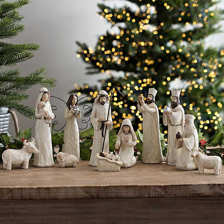 Cream Christmas Nativity Scene Set Of 11 Christmas Nativity Scene Display Christmas Nativity Scene Nativity Scene Display