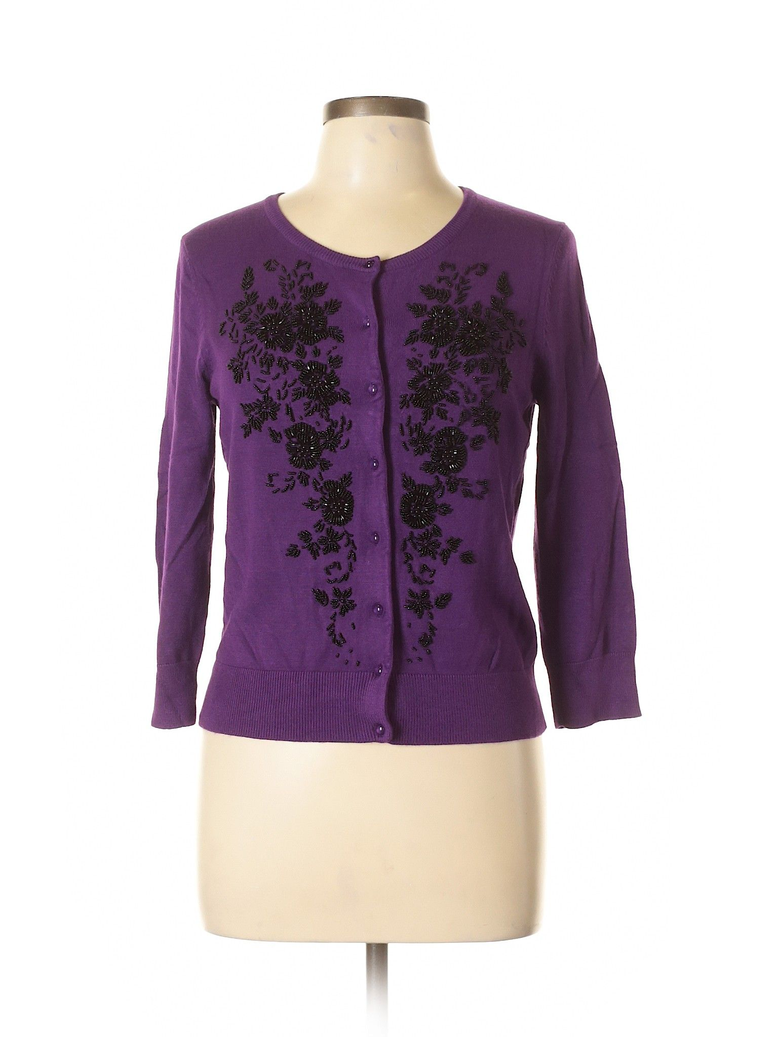 Attractive Cable U0026 Gauge Cardigan: Size 8.00 Dark Purple Womenu0027s Sweaters U0026  Sweatshirts   $15.99