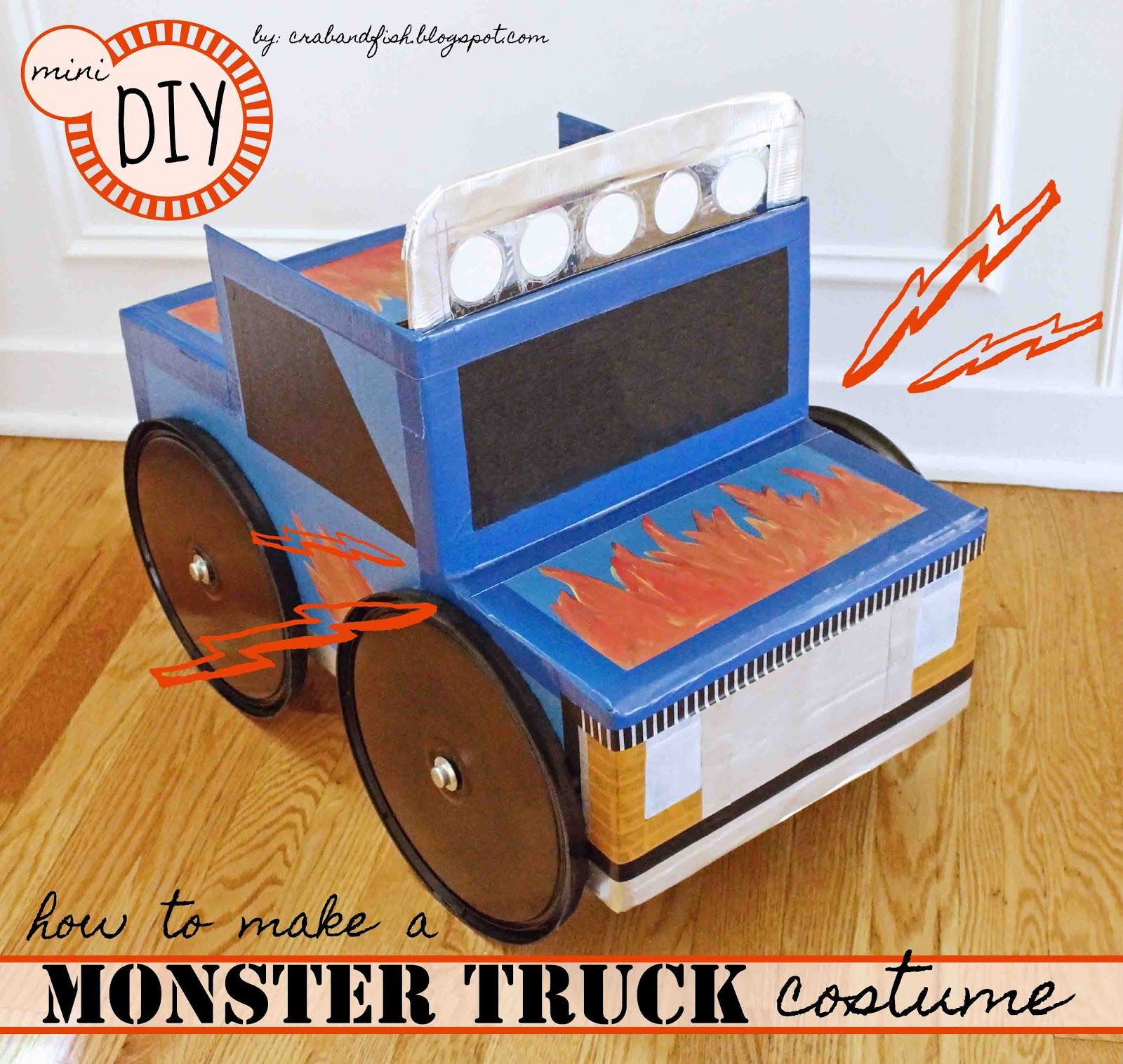 miniDIY: monster truck halloween costume from cardboard box