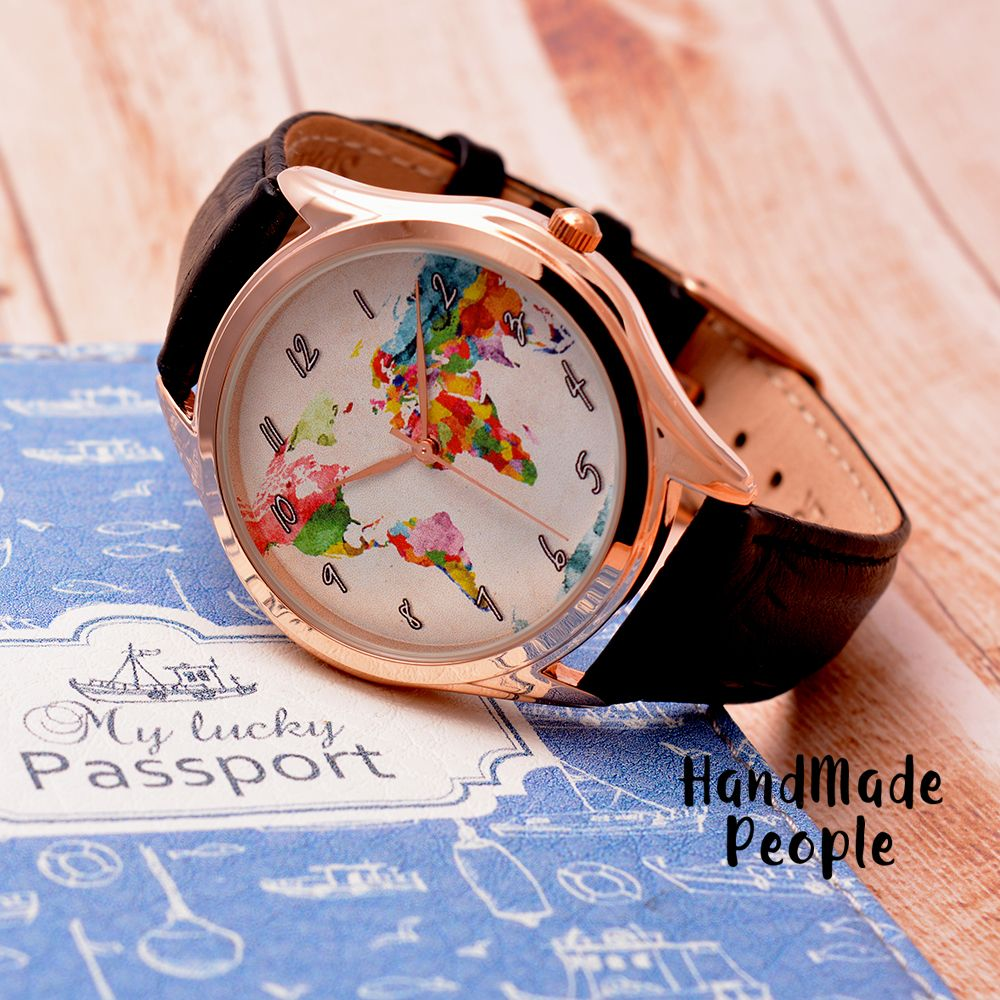 Rose gold world map watch watercolor gift for women rose gold rose gold world map watch watercolor gift for women rose gold jewelry daughter gift gift for her leather watch free shipping gumiabroncs Image collections