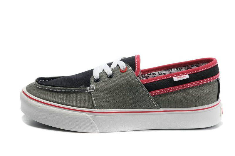 Pin on 2012 Vans Canvas Zapato Del Barcos Shoes Black/Gray/Red