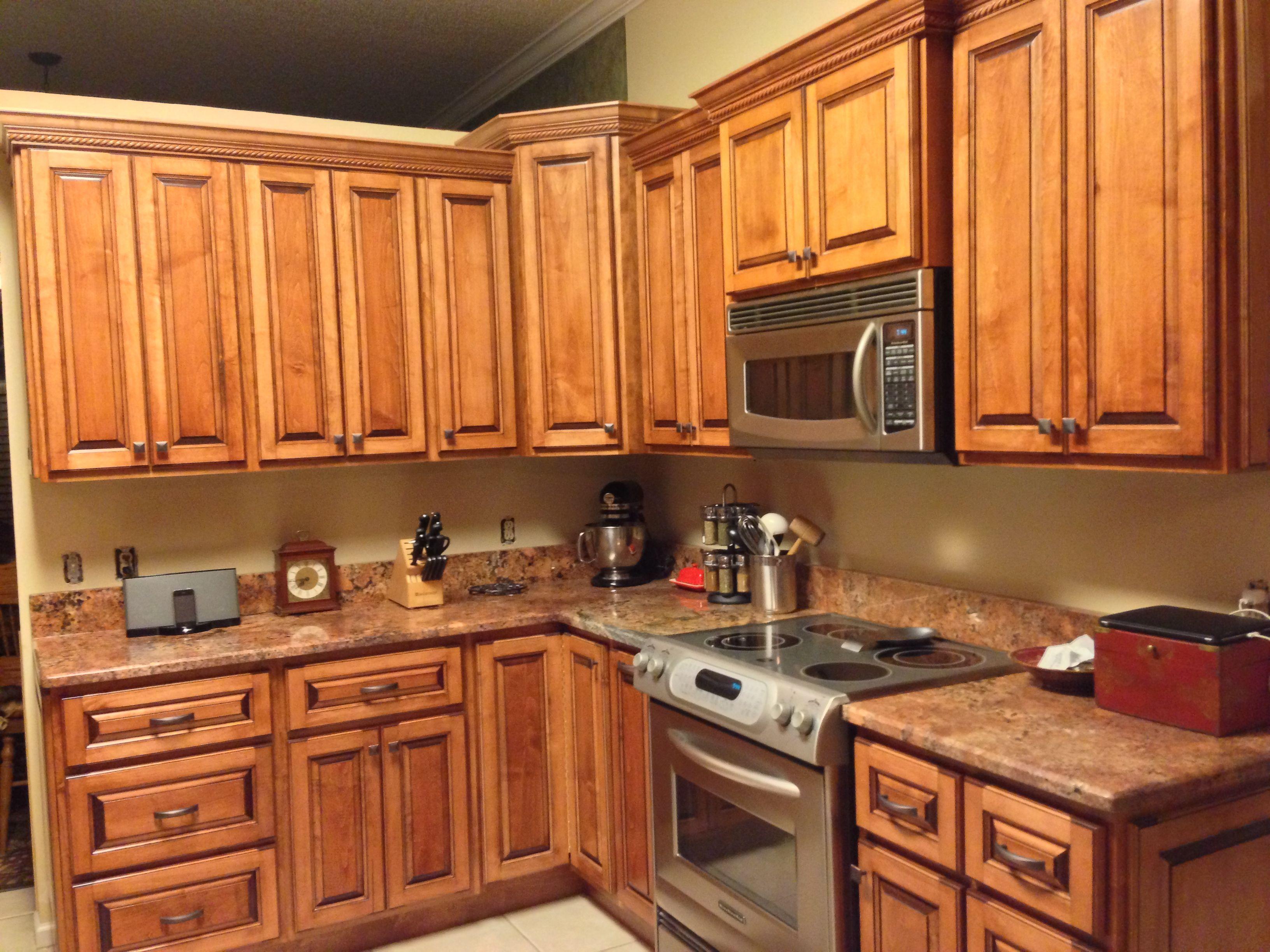 "Custom Glazed Kitchen Cabinets custom kitchen cabinets with italian maple w/glaze finish & ""red"