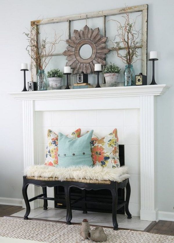Living Room Mantel Decoration in Vintage Style. 10 Fabulous Fireplace Mantel Ideas for Summer   Mantels