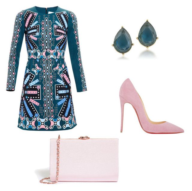 """""""Teal & Light Pink"""" by mineortakose on Polyvore featuring moda, Peter Pilotto, Christian Louboutin, Ted Baker ve Carolee"""