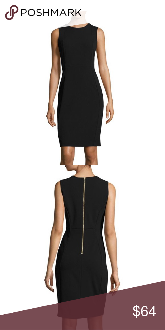 good service good quality dirt cheap Calvin Klein Sleeveless Sheath Dress Black with Gold exposed ...