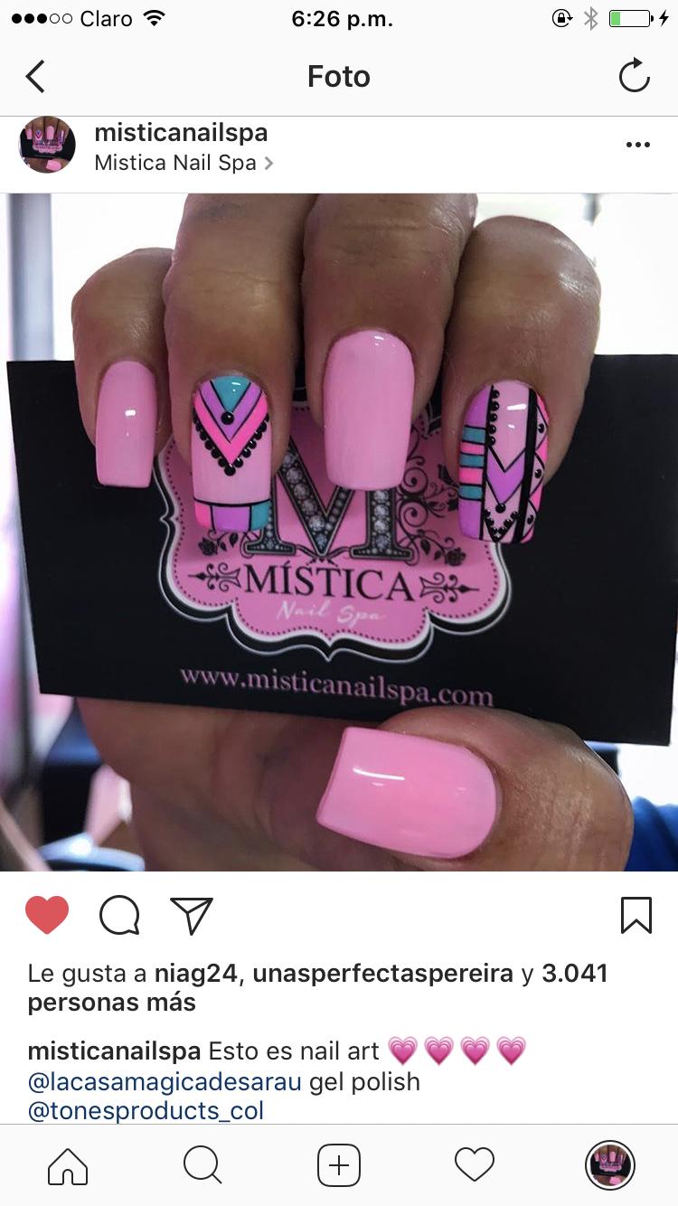 Uñas etnicas | Mistica Nail Spa | Pinterest | Diseños de uñas ...