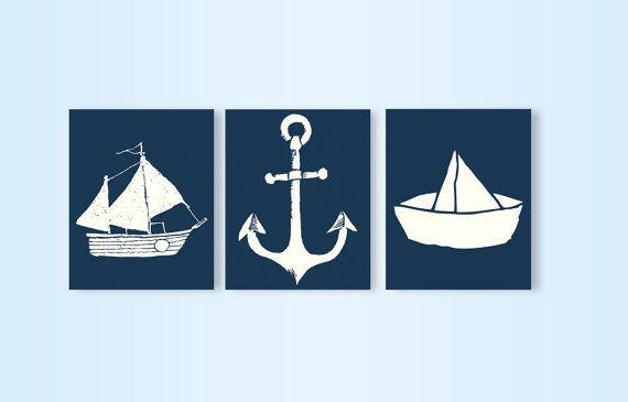 Navy Nautical Nursery Decor. Set of 3 printables