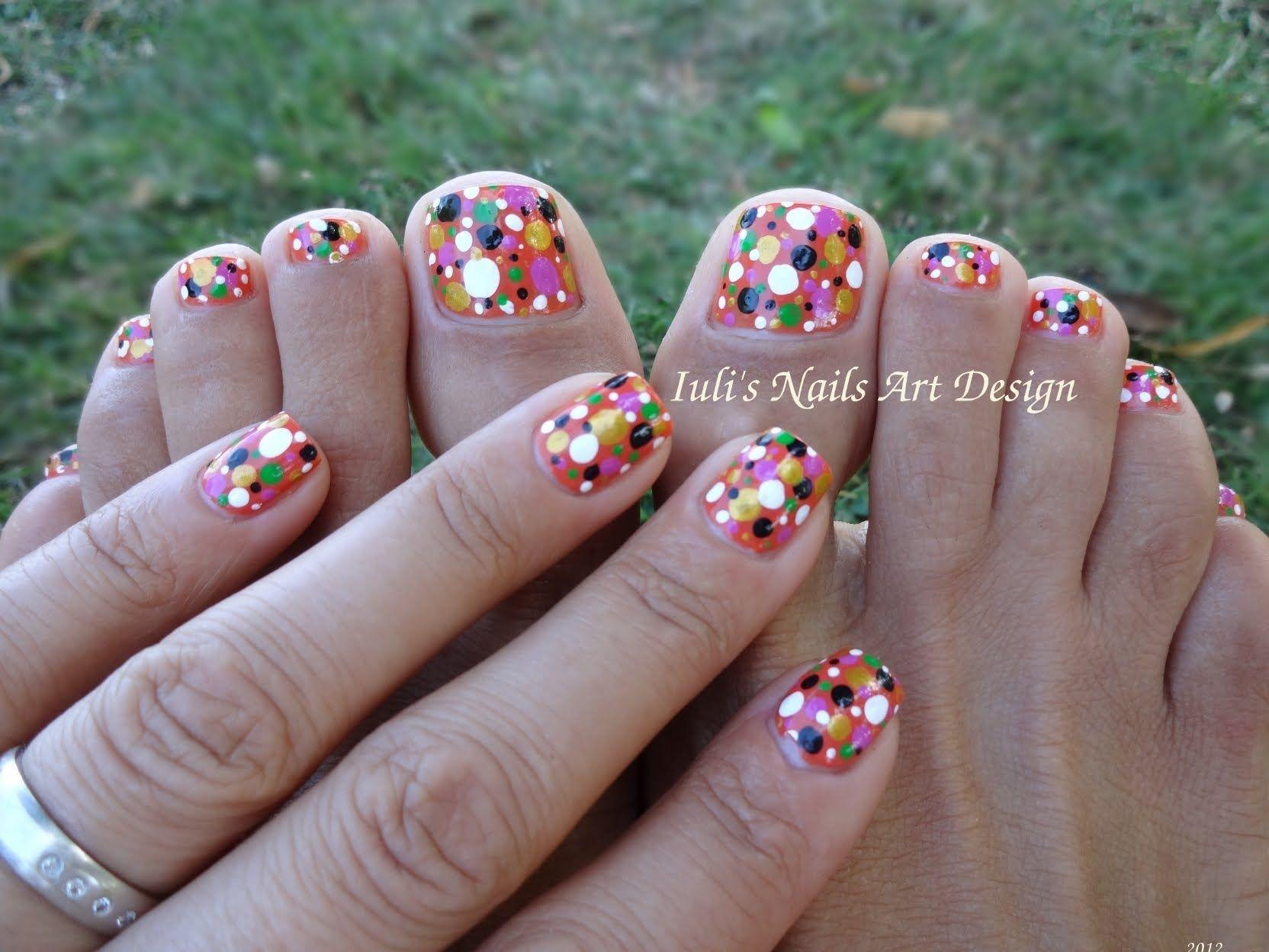 Toes Art Design Colortul Dots Easy Beginners Live Tutorial Summer