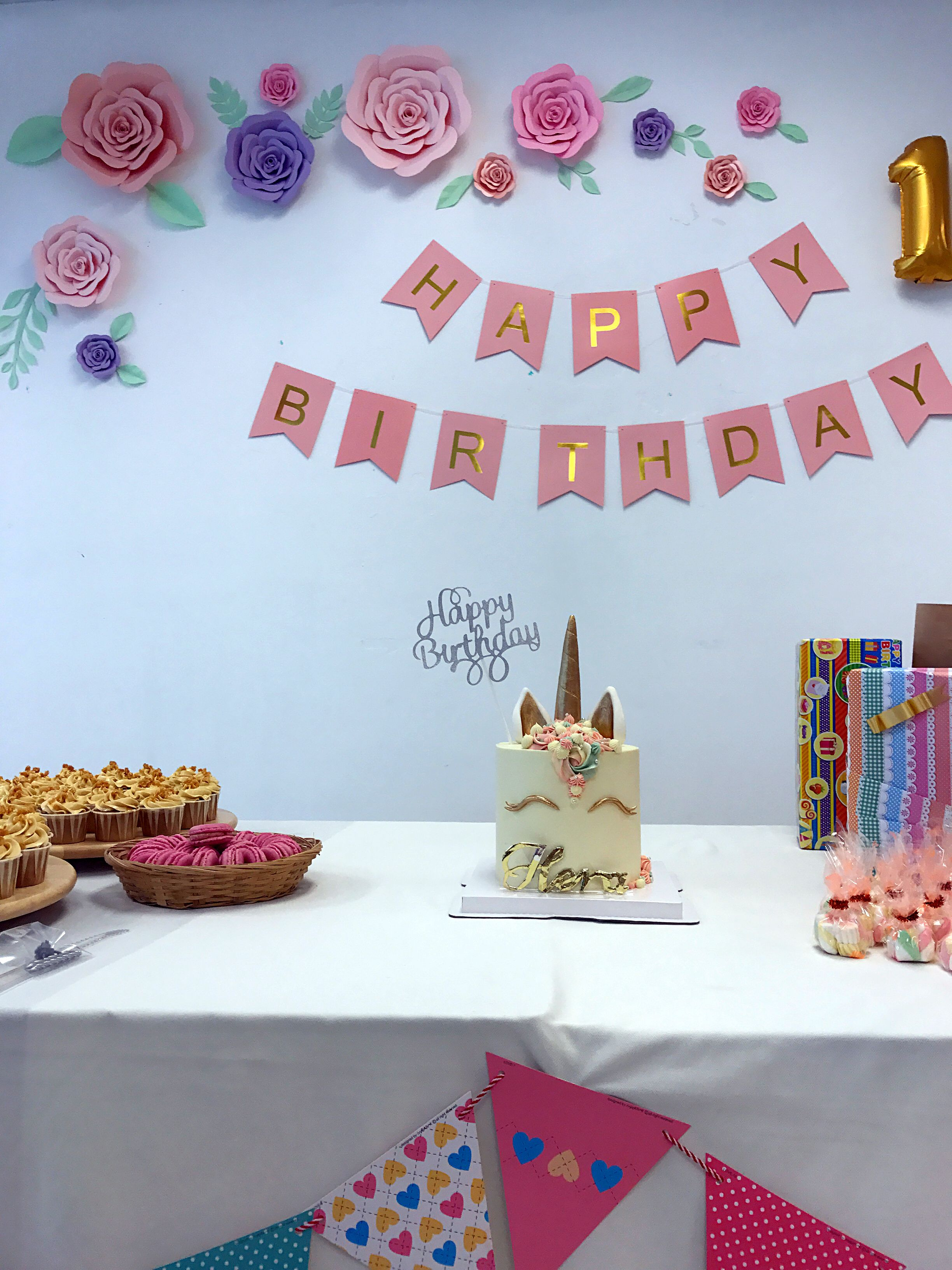 1st birthday party decoration diy backdrop with paper flower diy