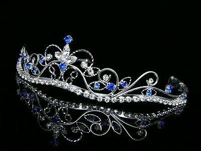 Silver Blue Bridal Rhinestones Crystal Prom Wedding Crown Tiara 8377 | eBay