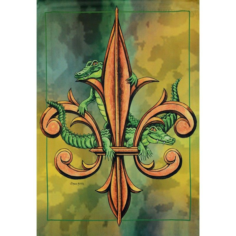Alligator Fleur De Lis Garden Flag | Alligator & Swamp | Pinterest ...