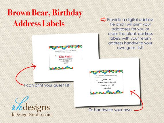 Brown bear brown bear kids birthday invitation eric carle 1st brown bear eric carle address labels perfect for birthday party invitations filmwisefo Choice Image